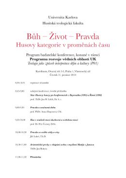 Bůh – Život – Pravda - Univerzita Karlova v Praze