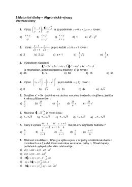 2.Maturitní úlohy – Algebraické výrazy