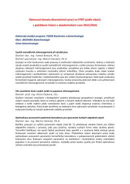Rámcová témata disertačních prací pro akademický rok 2015/2016