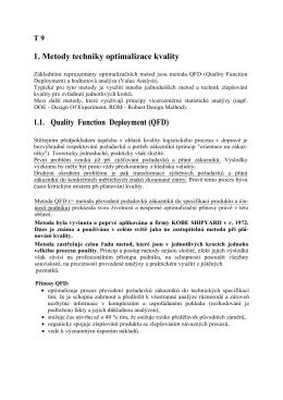 1. Metody techniky optimalizace kvality 1.1. Quality Function
