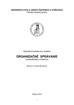 ORGANIZAČNÉ SPRÁVANIE - Informácie