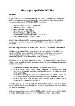 Návod pro využívání ODISky - Zákaznický portál ODISky