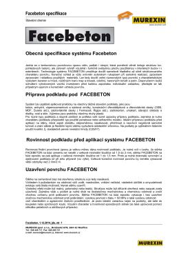 Facebeton specifikace Obecná specifikace systému Facebeton