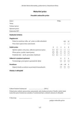 Maturitní práce - SŠ informatiky, poštovnictví a finančnictví Brno