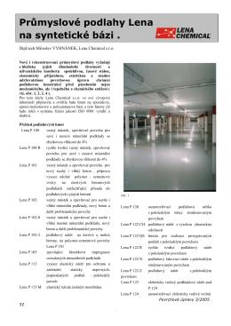 Průmyslové podlahy Lena na syntetické bázi ( Povrchové úpravy