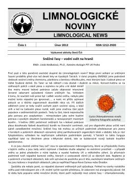 Limnologické noviny č. 1/2012 - Česká limnologická společnost