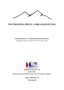 PSYCHOLÓGIA PRÁCE A ORGANIZÁCIE 2014