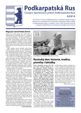 Čtvrté číslo časopisu roku 2014 - stránky společnosti přátel
