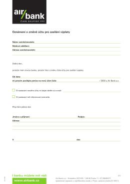 Oznámení o změně účtu pro zasílání výplaty