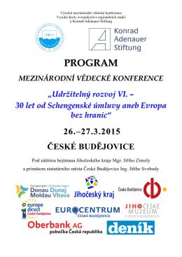 Program konference (pdf, aktualizováno 18. 3. 2015)