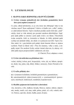 V. LEXIKOLOGIE