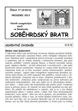 2013 / 4 - Farní sbor Českobratrské církve evangelické v Soběhrdech