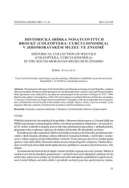 historická sbírka nosatcovitých brouků (coleoptera: curculionoidea)