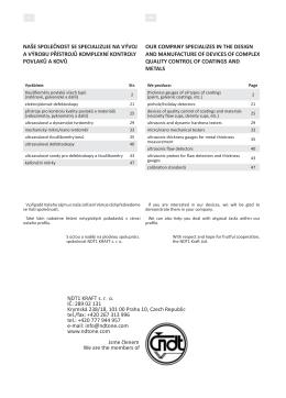 katalog (pdf) - NDT1. Nedestruktivní měření. Ultrazvukové