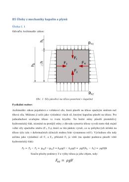 Úloha z mechaniky kapalin a plynů