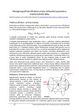 Rentgenografické difrakční určení mřížového parametru známé