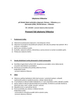 Provozní řád ubytovny Vítkovice