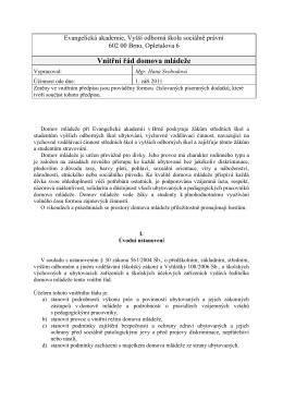 Vnitřní řád Domova mládeže - Evangelická akademie Brno