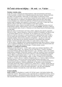 II.České církevní dějiny – 10. stol.