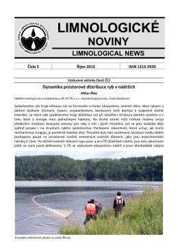 Limnologické noviny č. 3/2013 - Česká limnologická společnost