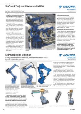 Svařovací sedmiosý robot Motoman typ VA1400
