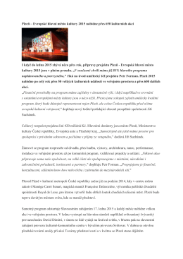 Plzeň – Evropské hlavní město kultury 2015 nabídne přes 650