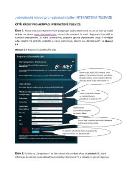 Jednoduchý návod pro registraci služby INTERNETOVÁ - B(-NET
