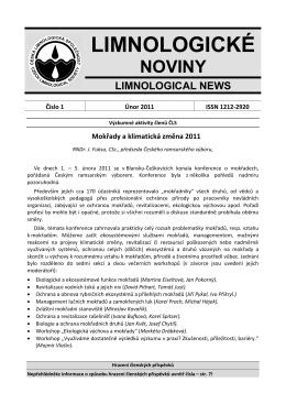 LIMNOLOGICKÉ NOVINY - Česká limnologická společnost
