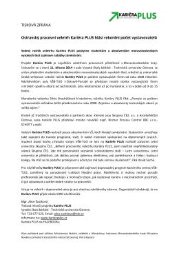 Ostravský pracovní veletrh Kariéra PLUS hlásí rekordní počet