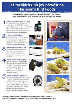11 rychlých tipů jak převést na Harrison`s Bird Foods