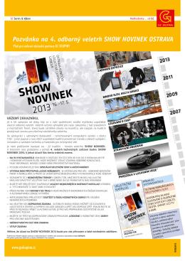 Pozvánka na 4. odborný veletrh SHOW NOVINEK OSTRAVA