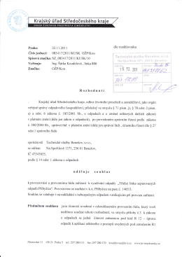 Povolení - Technické služby Benešov