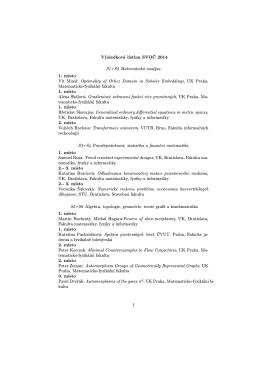 Výsledková listina SVOČ 2014 S1+S2 Matematická analýza 1. místo