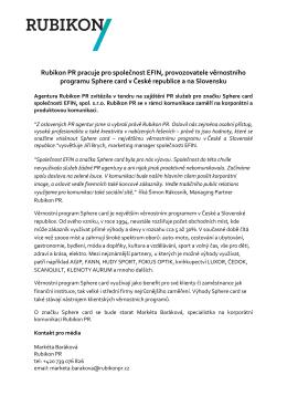 Rubikon PR pracuje pro společnost EFIN