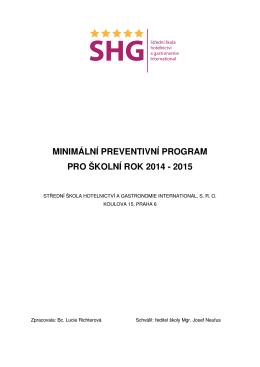 minimální preventivní program pro školní rok 2014