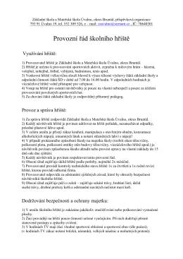 Provozní řád hriště - Základní škola a Mateřská škola Úvalno