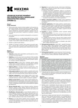 všeobecné pojistné podmínky pro pojištění nutné a neodkladné
