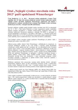 """Titul """"Nejlepší výrobce stavebnin roku 2012"""" patří"""