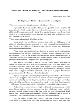 Otevřený dopis Platformy pro lidská práva a dalších organizací