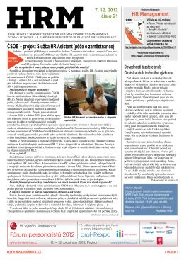 ČSOB – projekt Služba HR Asistent (péče o zaměstnance)