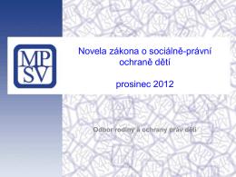 Novela zákona o sociálně-právní ochraně dětí prosinec 2012
