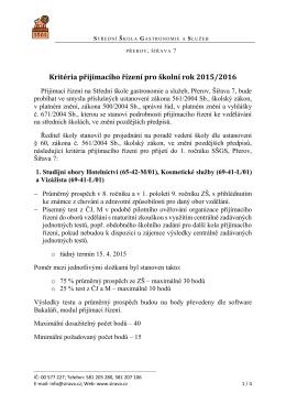 Podrobná kritéria přijímacího řízení pro školní rok 2015-16