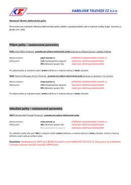 Příjem pošty – nastavované parametry Odesílání pošty