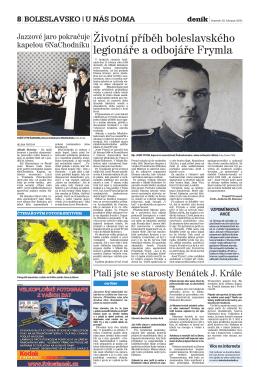 Životní příběh boleslavského legionáře a odbojáře Frymla, In.: Deník