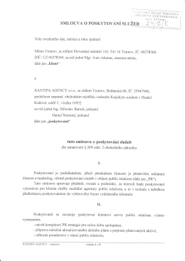 XANTIPA AGENCY - smlouva o poskytování služeb