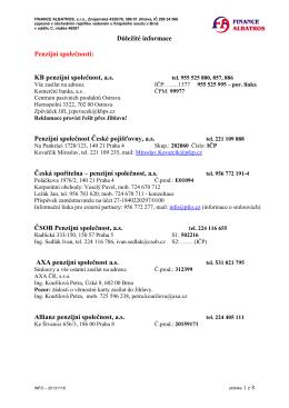 Důležité informace - Finance Albatros sro