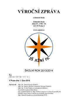 Výroční zpráva o činnosti školy za rok 2013/2014