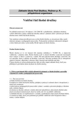 Vnitřní řád školní družiny - Základní škola Pod Skalkou
