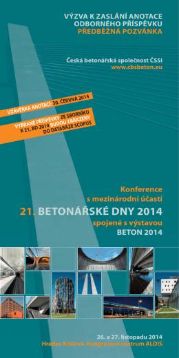 Výzva k zaslání anotace - Česká betonářská společnost ČSSI