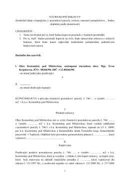 Návrh kupní smlouvy - Kostomlaty pod Milešovkou